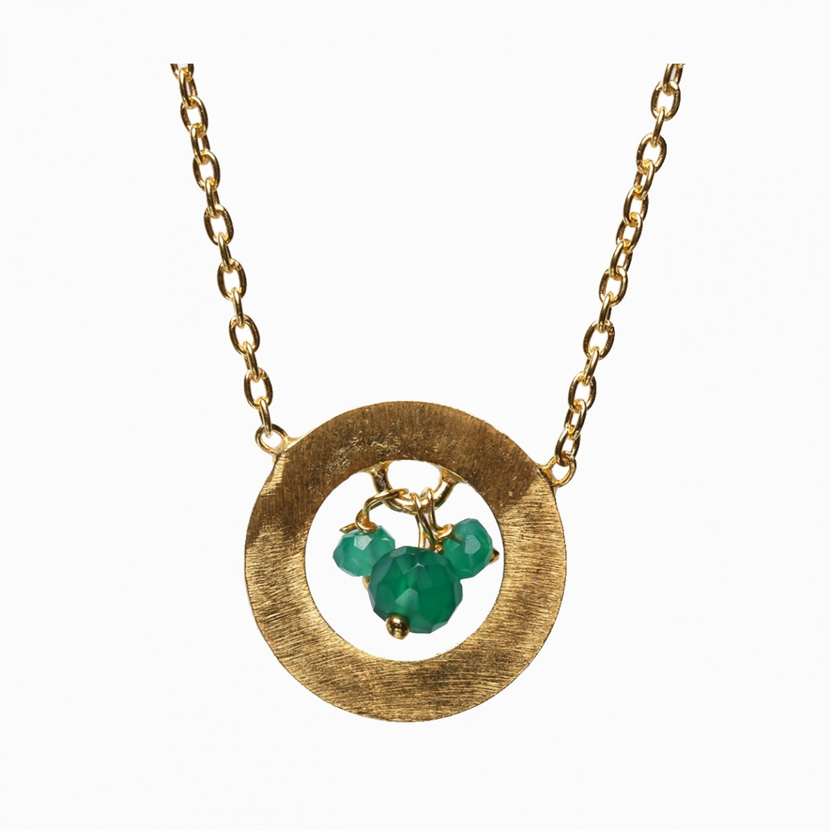 Green onyx gold plated necklace