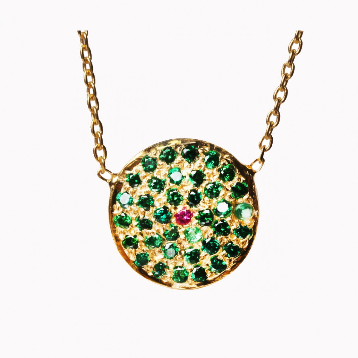 Ruby and emerald pendant necklace