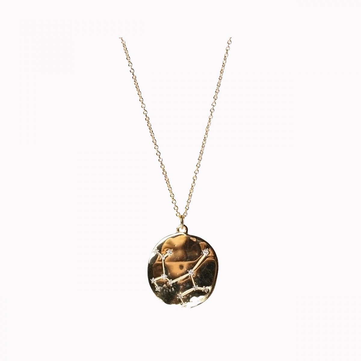 White Zircon Cut Gold Plated Pendant Necklace