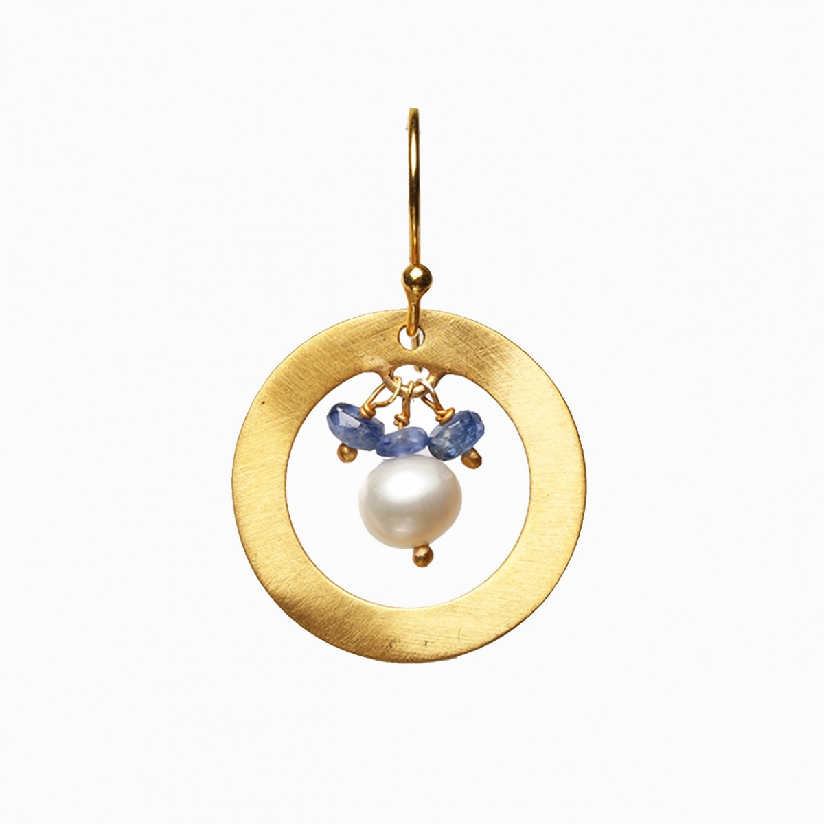 Gemstone Earrings - Kyanite and Pearl