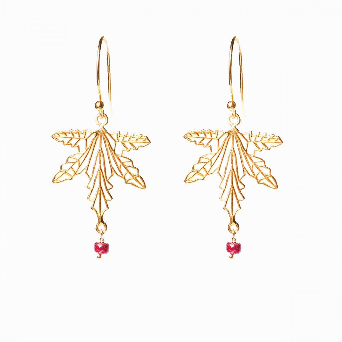 Gemstone Leaf Pendant Leaf Earring - Ruby