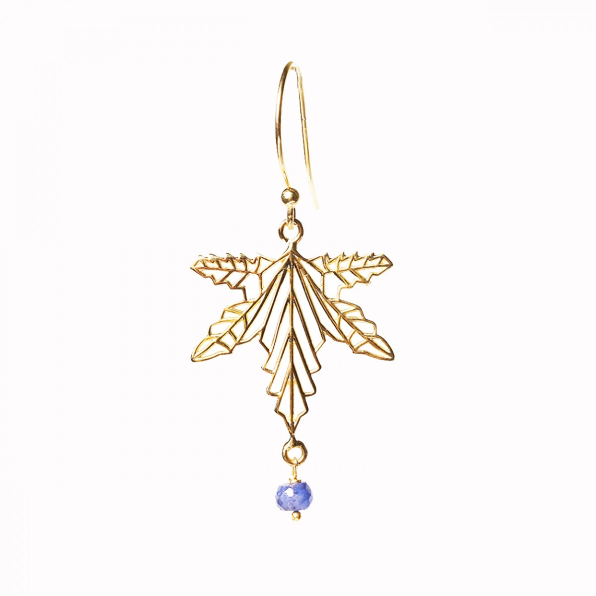 Sapphire leaf pendant gold plated earrings
