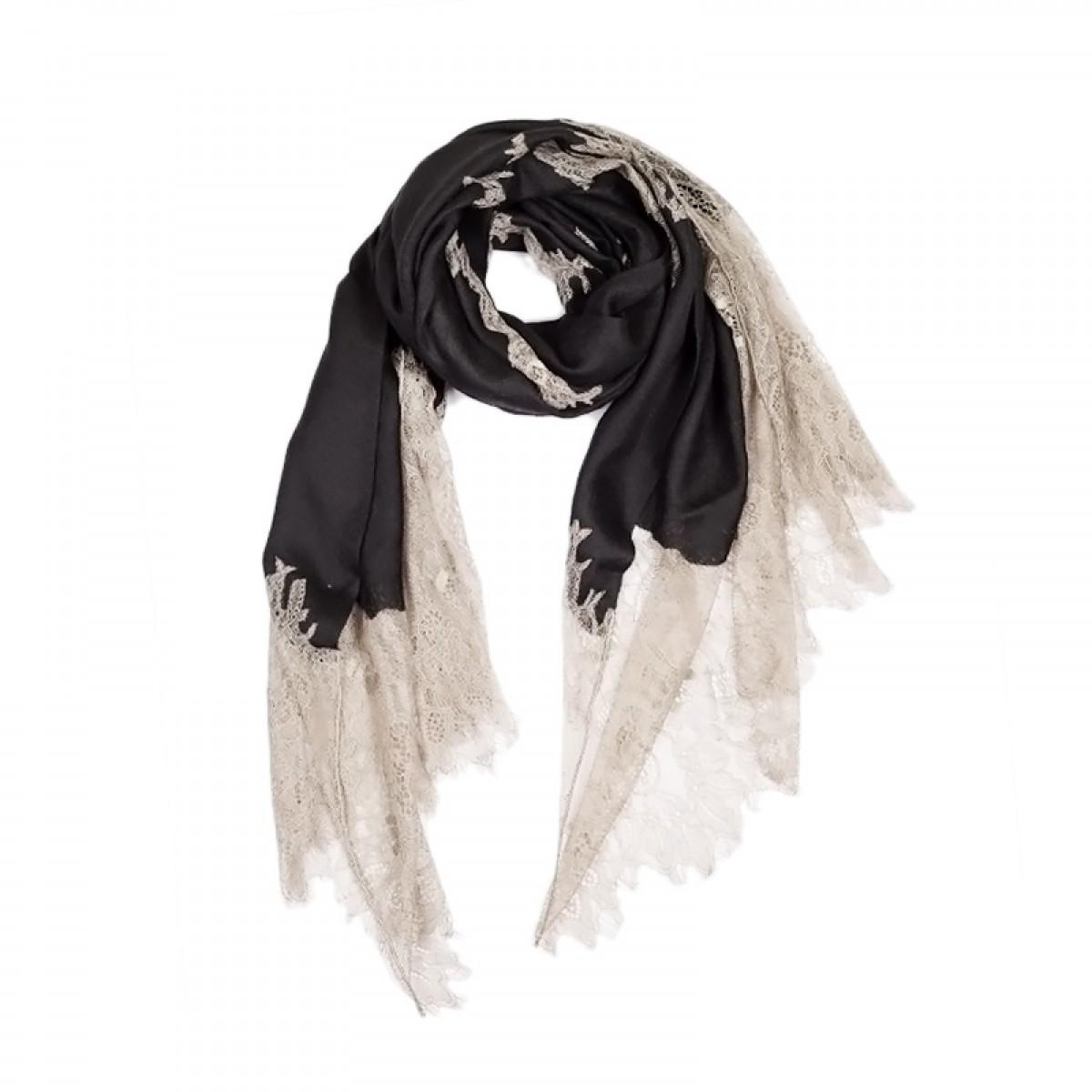Lace Twill Pashmina Scarf Stripes Across  - Black