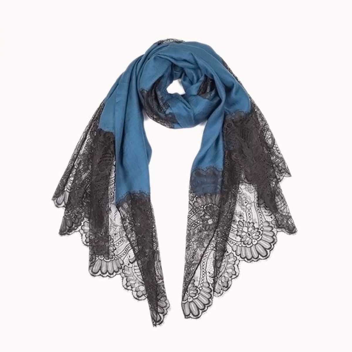 Lace Twill Pashmina Scarf Stripes Across - Midnight Blue