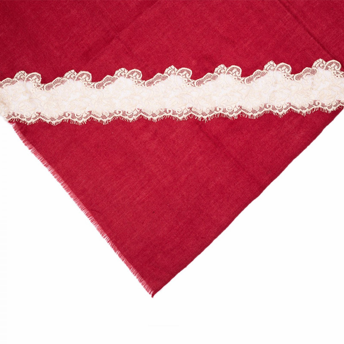 Lace Twill Pashmina Scarf Stripes Across - Crimson Red
