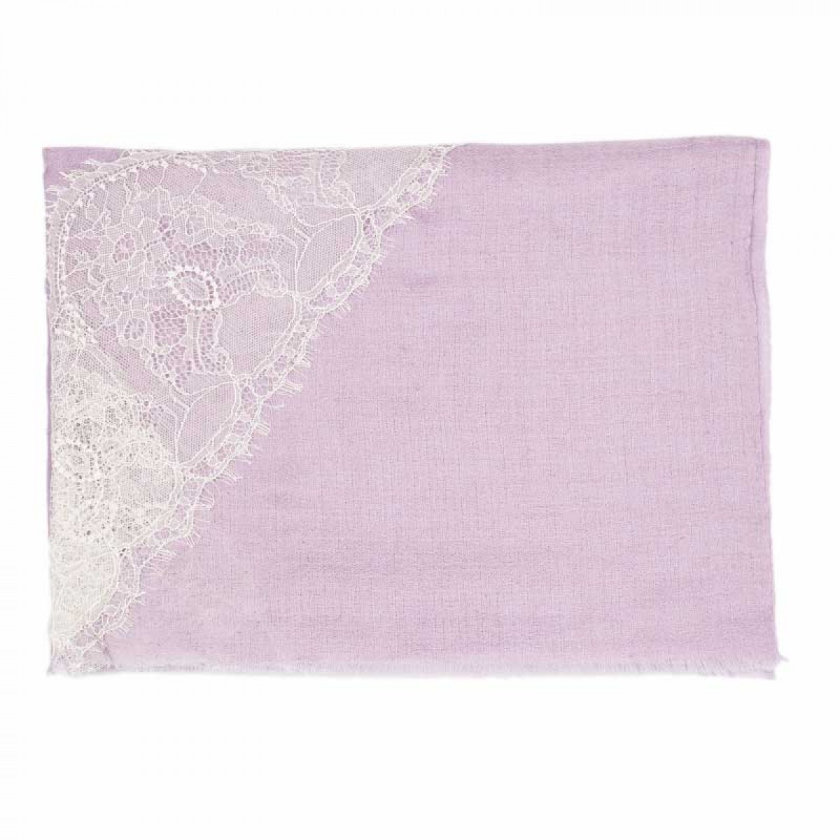 Lace Twill Pashmina Scarf Cross Stripes  - Lilac