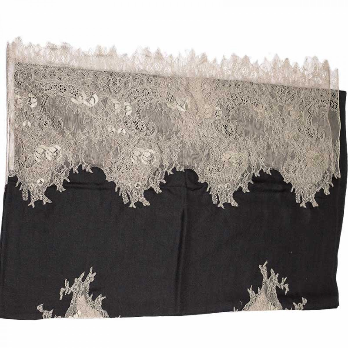 Lace Twill Pashmina Scarf Two Sides - Black