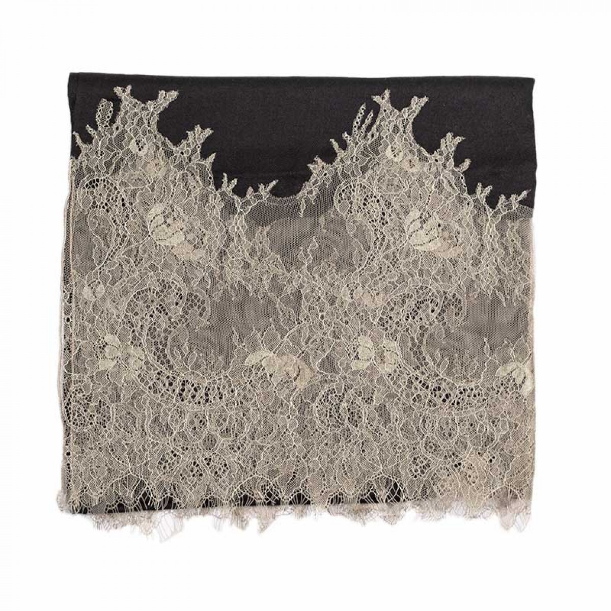 Lace Twill Pashmina Scarf Two Sides Flower - Black