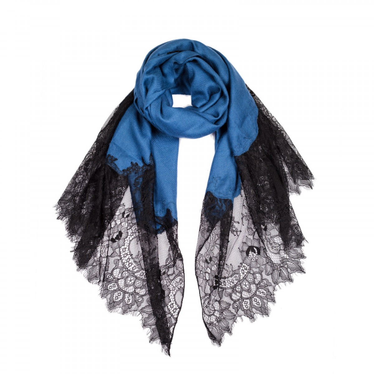Lace Twill Pashmina Scarf Two Sides  - Midnight Blue