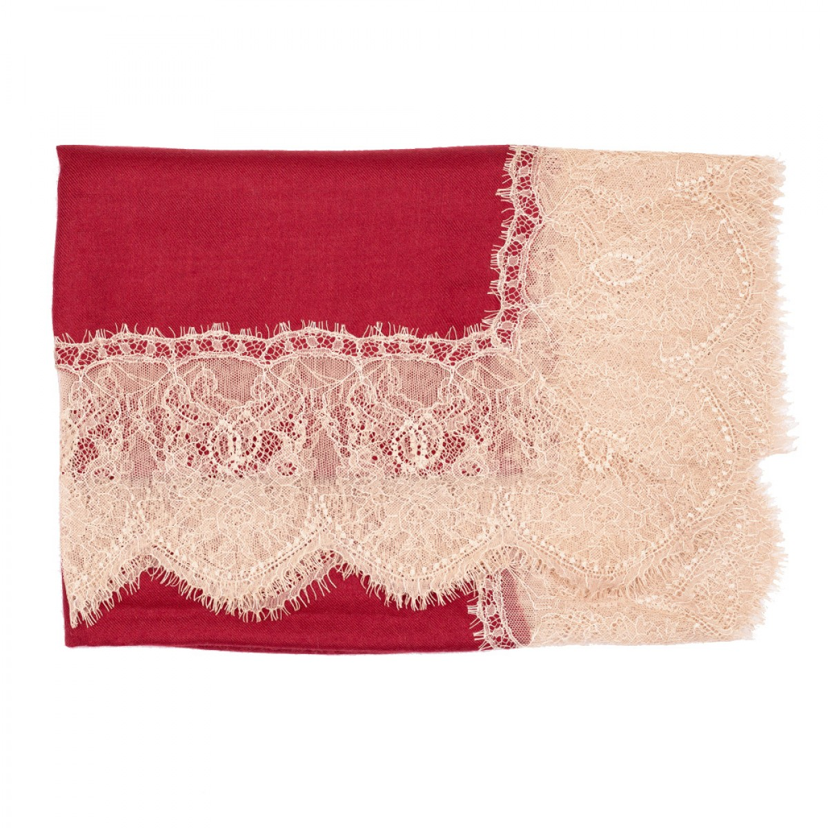 Lace Twill Pashmina Scarf All Over - Crimson Red