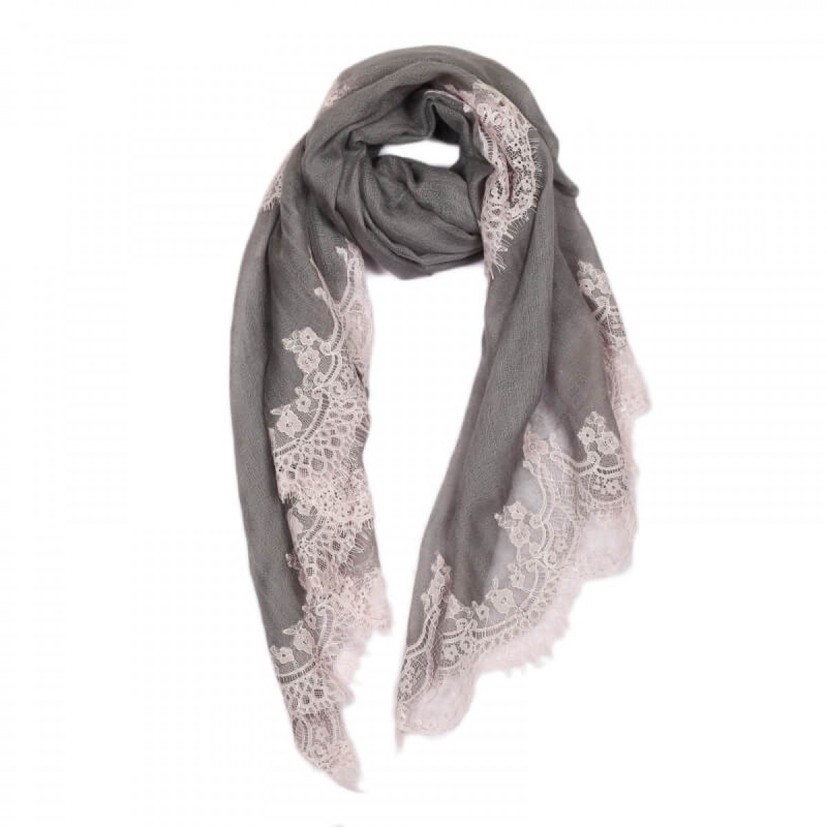 Lace Sheer Pashmina Scarf - Pewter Grey