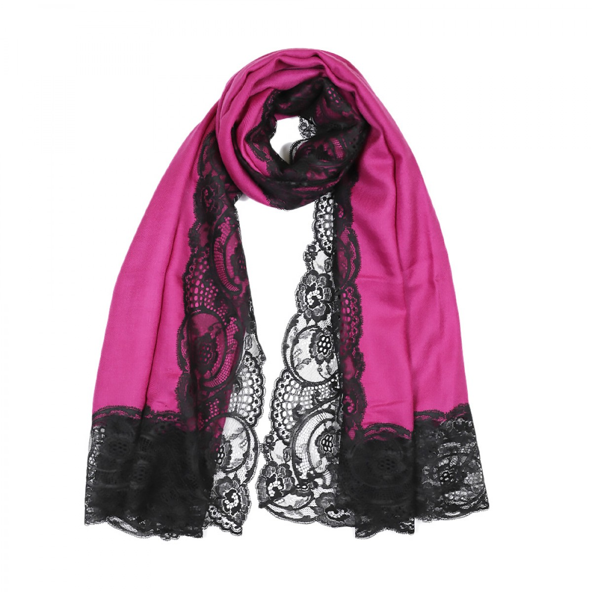 Lace Twill Pashmina Scarf All Over  - Magenta