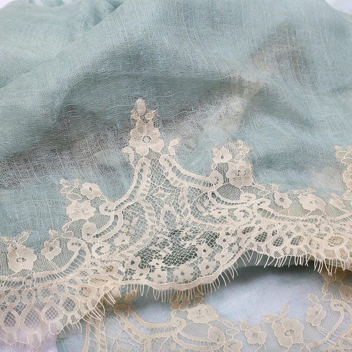 Lace Sheer Pashmina Scarf - Mint Green