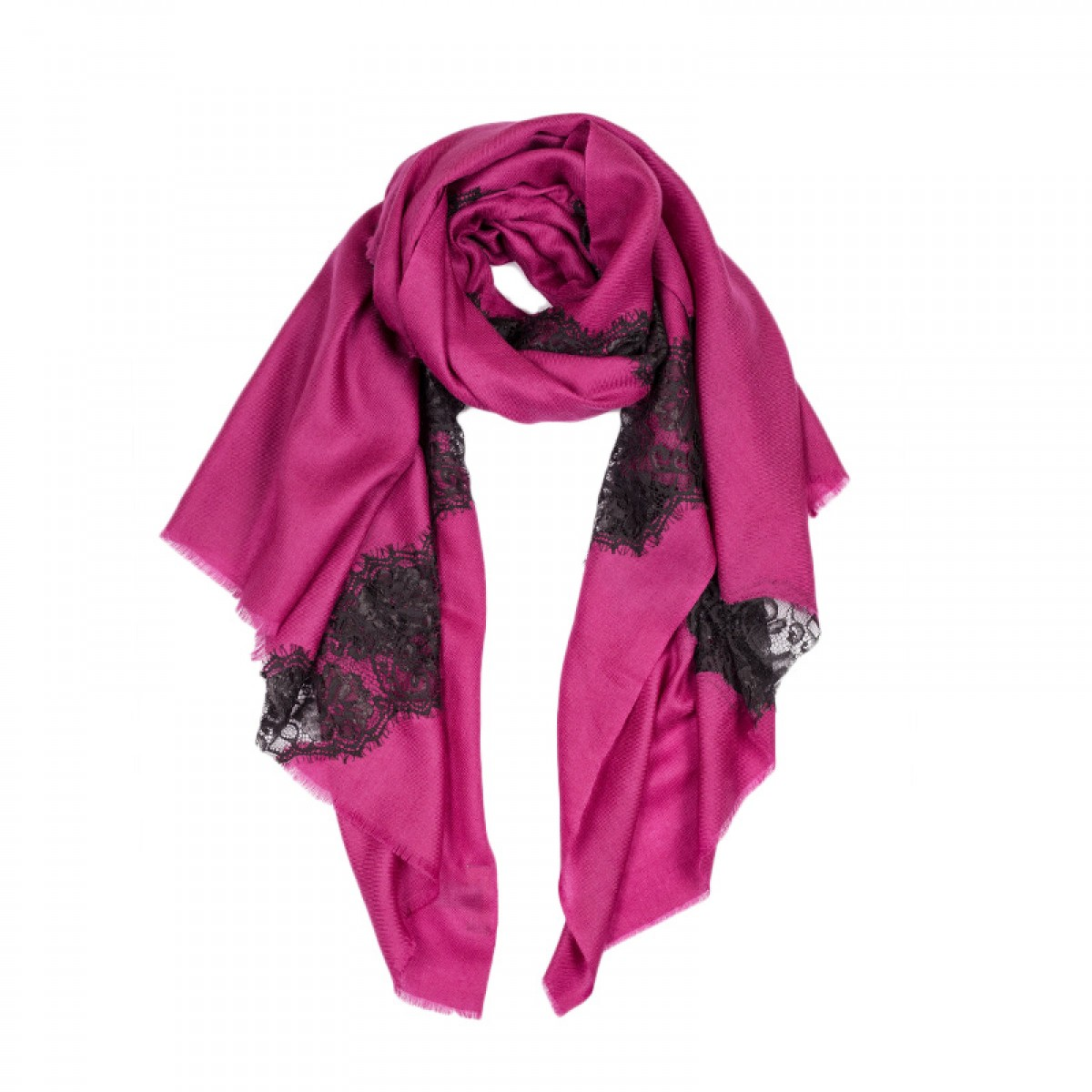 Lace Twill Pashmina Scarf Stripes Across  -  Magenta