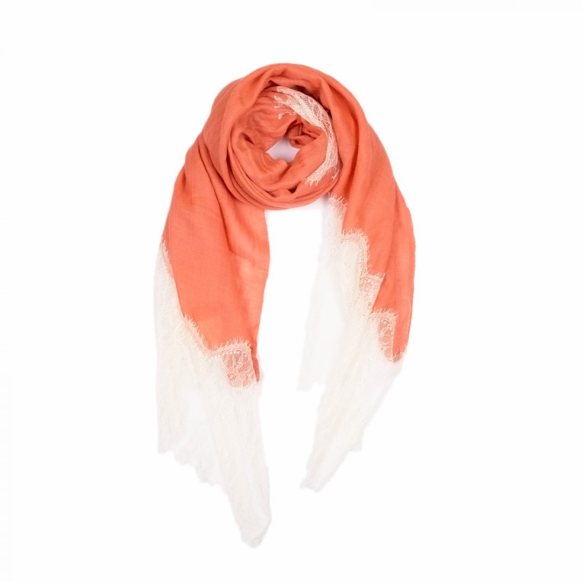 Lace Twill Pashmina Scarf Stripes Across - Coral
