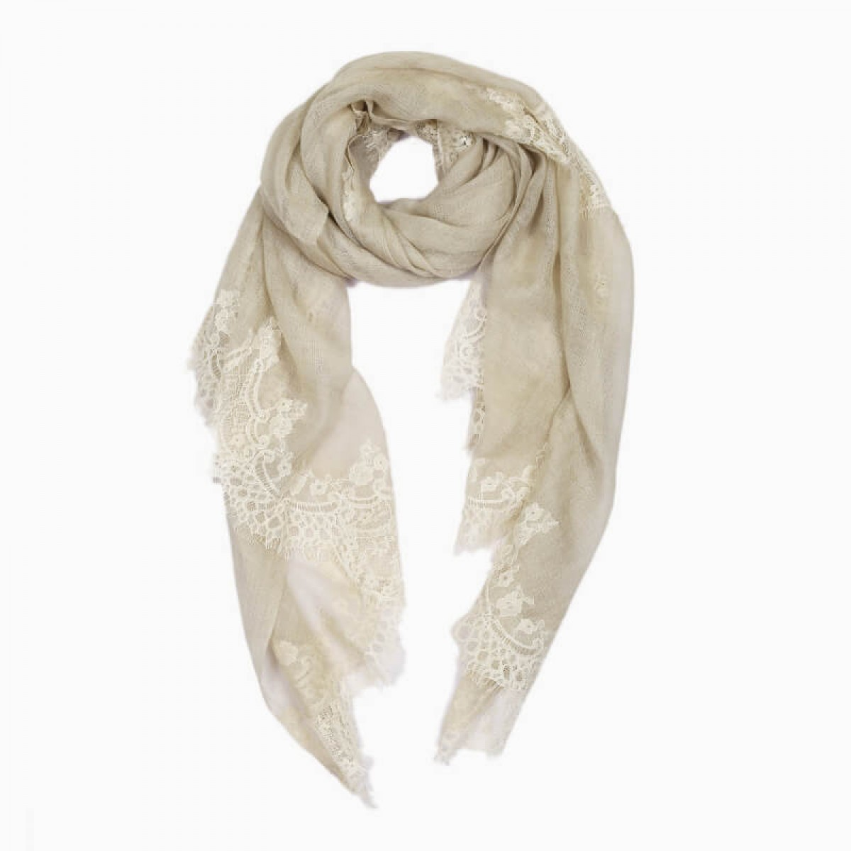 Lace Sheer Pashmina Scarf - Light Beige