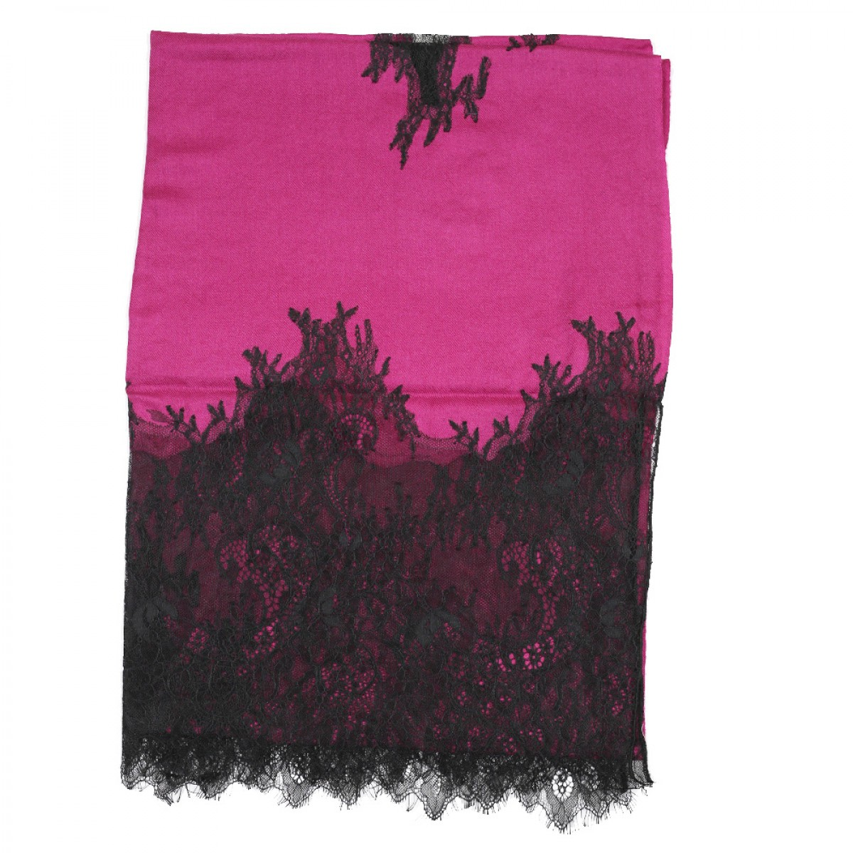 Lace Twill Pashmina Scarf Two Sides Flower- Magenta