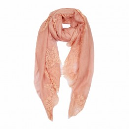 Lace Sheer Pashmina Scarf - Flamingo