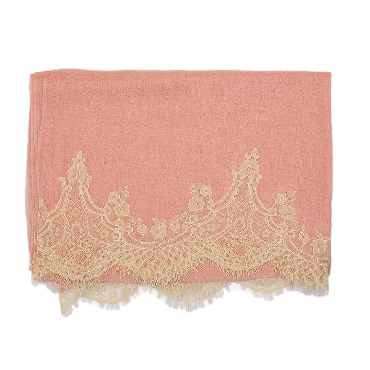 Lace Sheer Pashmina Scarf - Apricot Blush