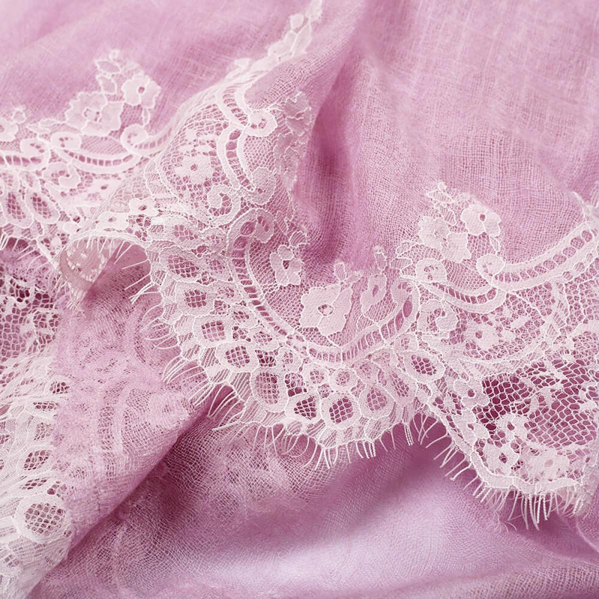 Lace Sheer Pashmina Scarf - Lilac