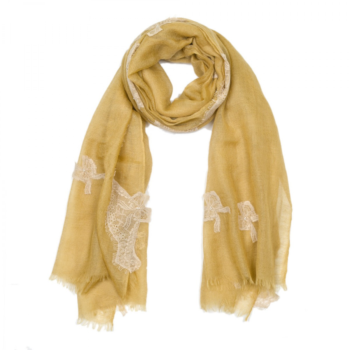 Lace Sheer Cashmere Pashmina Scarf - Honey Butterfly