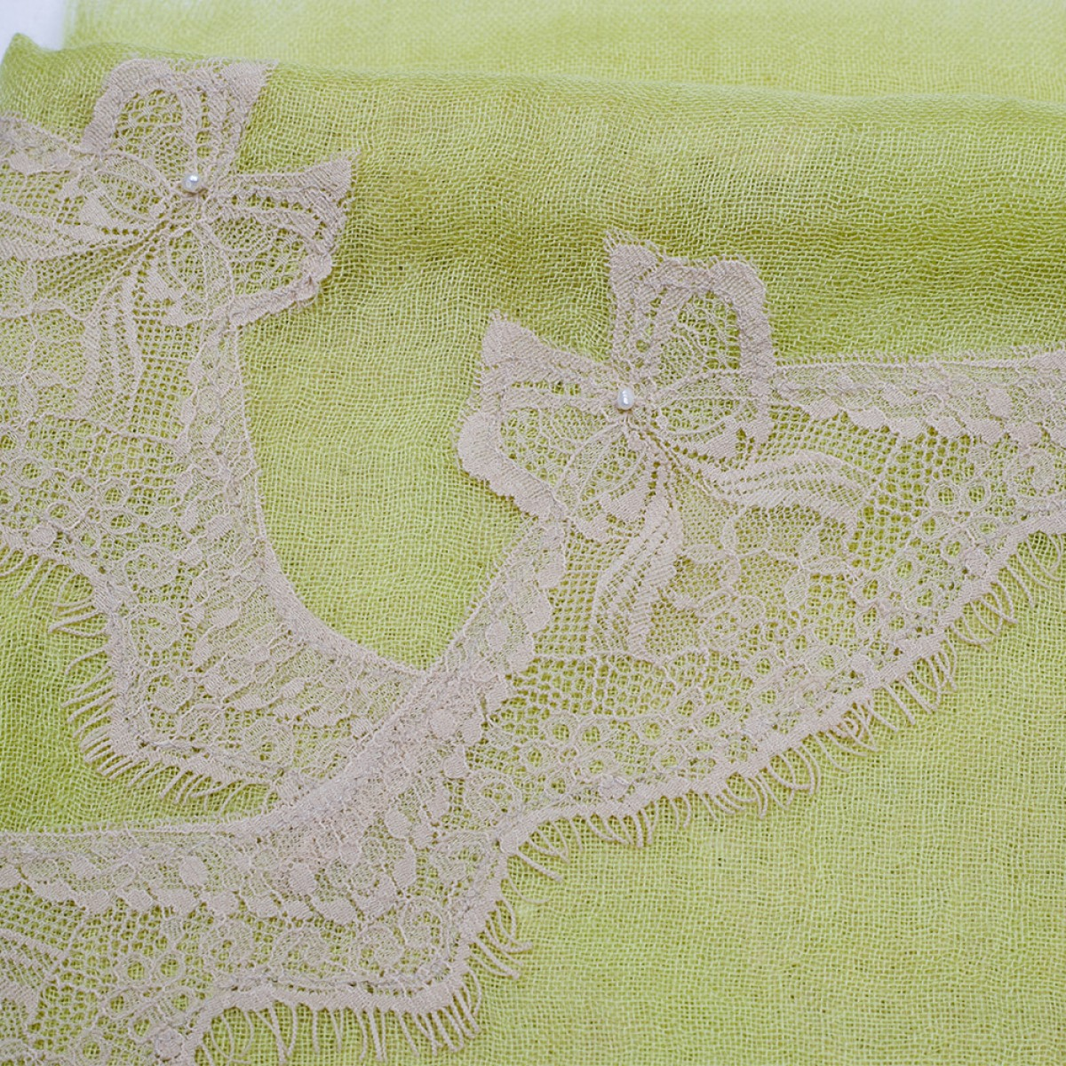 Lace Sheer Cashmere Pashmina Scarf - Butterfly