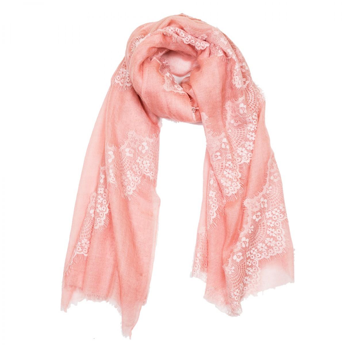 Lace Sheer Cashmere Pashmina Scarf - Apricot Blush