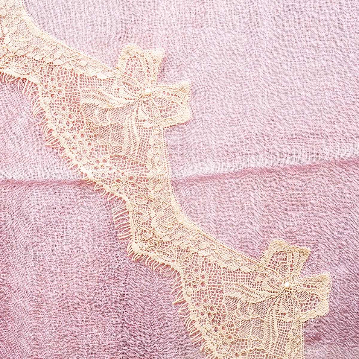 Lace Sheer Cashmere Pashmina Scarf - Lilac
