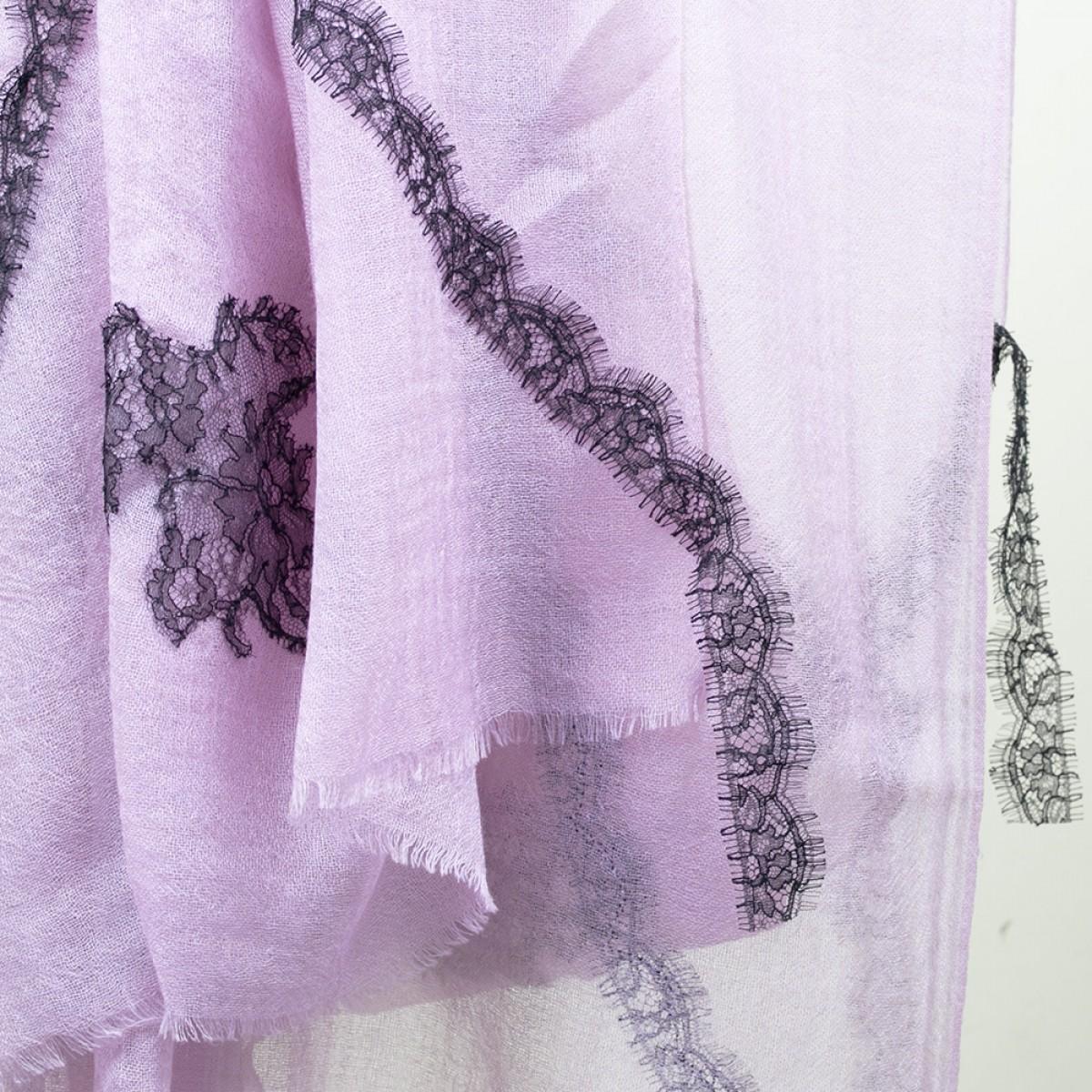 Lace Sheer Cashmere Pashmina Scarf - Mauve Purple