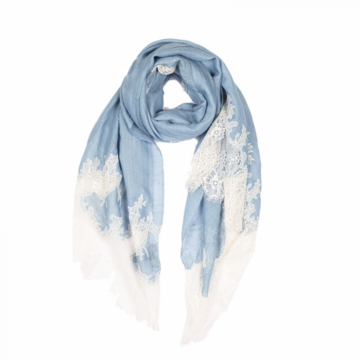 Lace Twill Pashmina Scarf Stripes Across - Serenity
