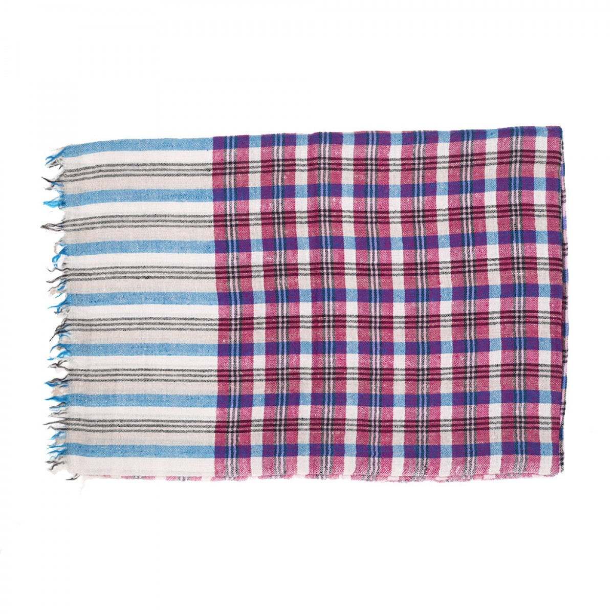 Men's Cashmere Pashmina Scarf - Natural Blue & Pink
