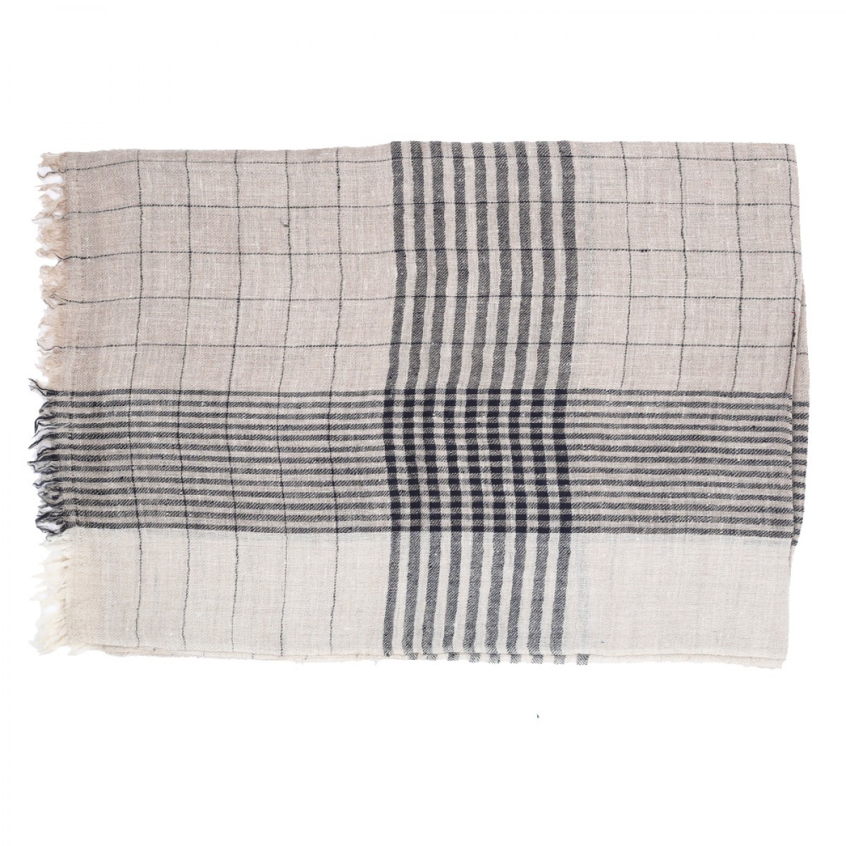 Men's Cashmere Pashmina Scarf - Black Check