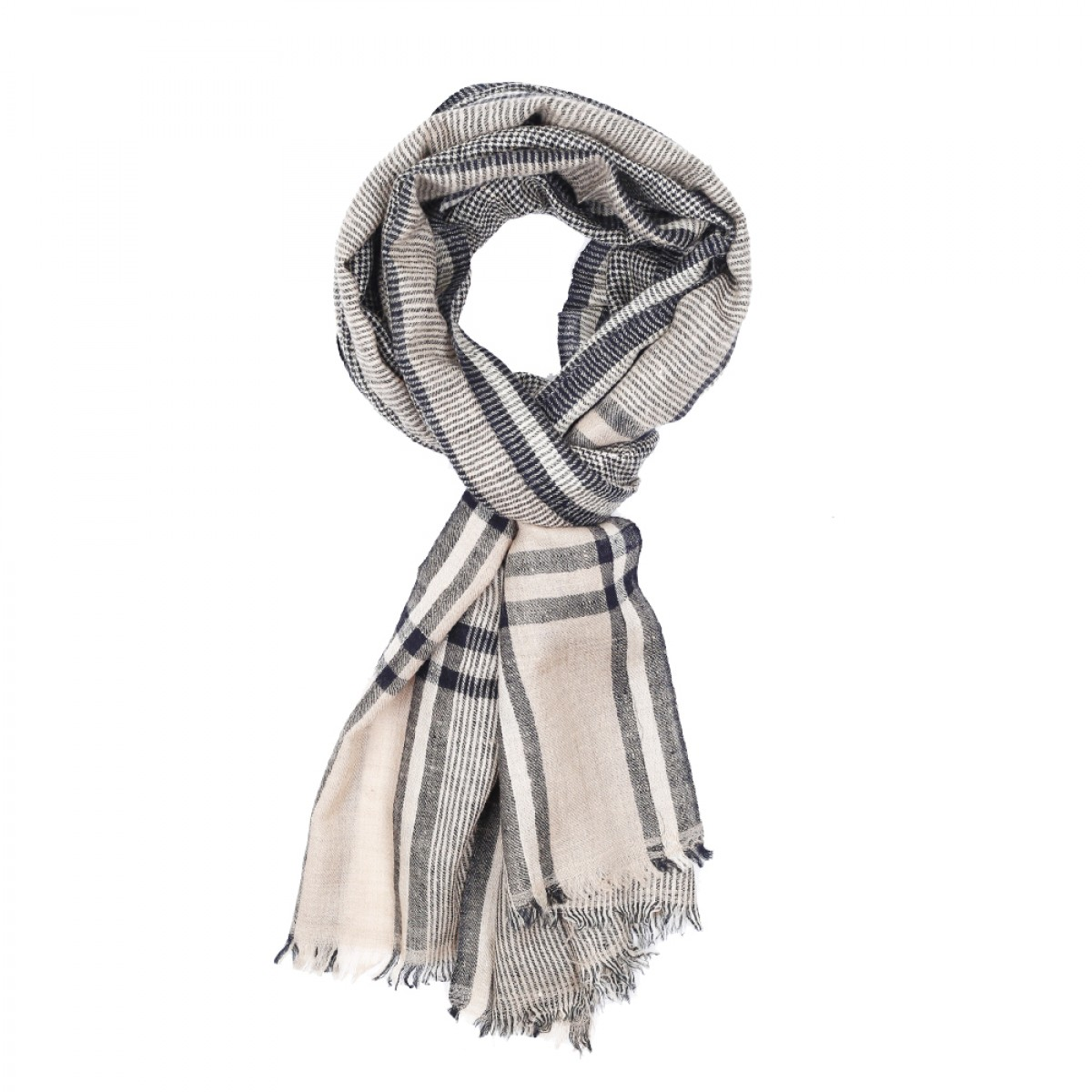 Men's Cashmere Pashmina Scarf - Natural Black Stripes
