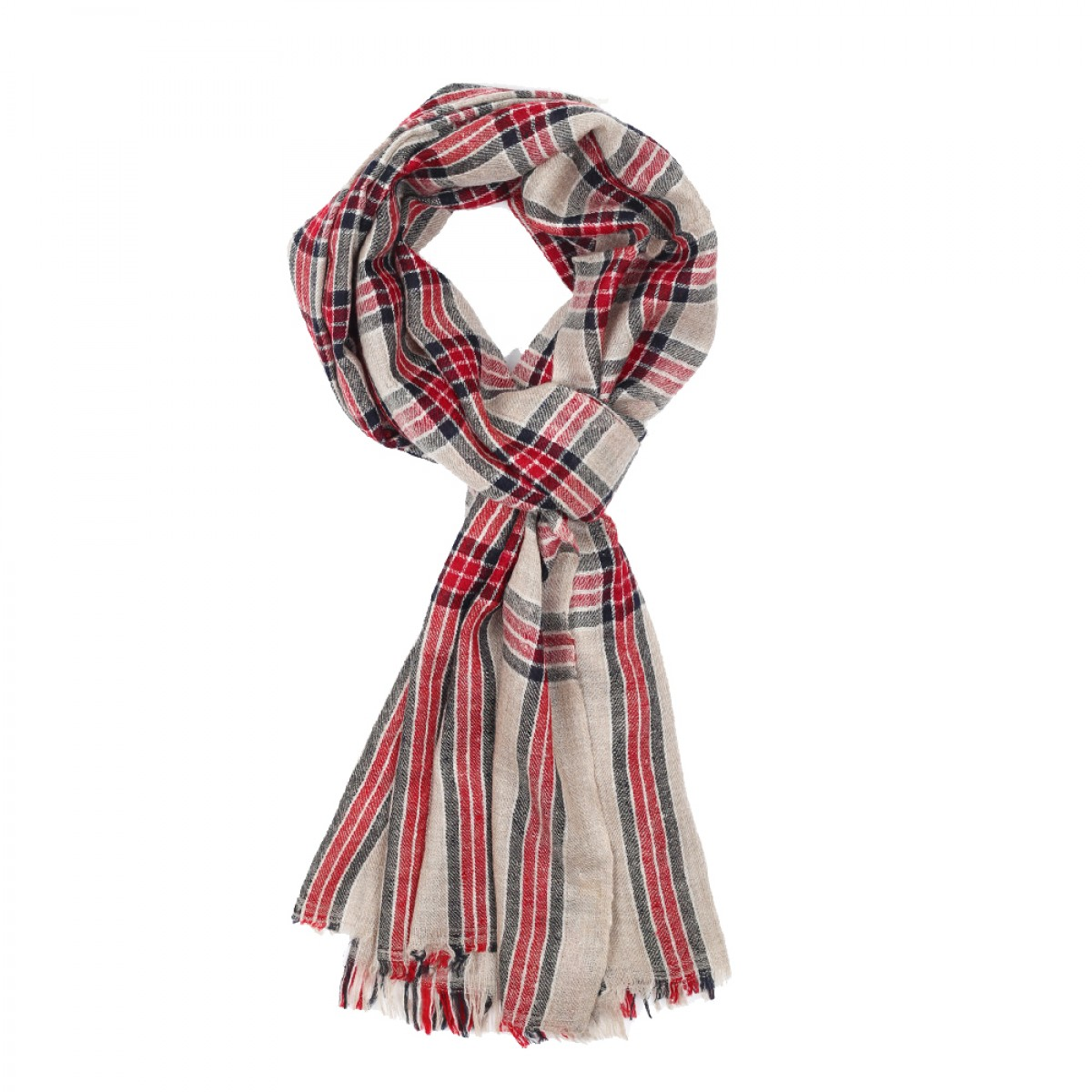 Men's Cashmere Pashmina Scarf - Natural  & Red Check
