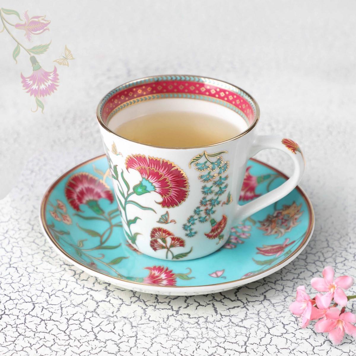 24 Carat Gold Rim Tea Cup & Saucer - White (single pc)
