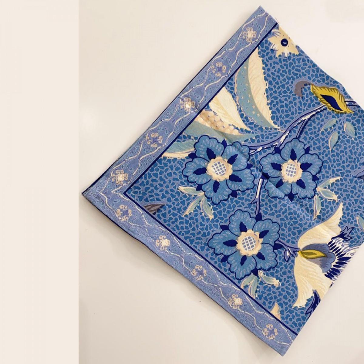 Cotton Printed Napkin - Blue Flower (Set of 6)
