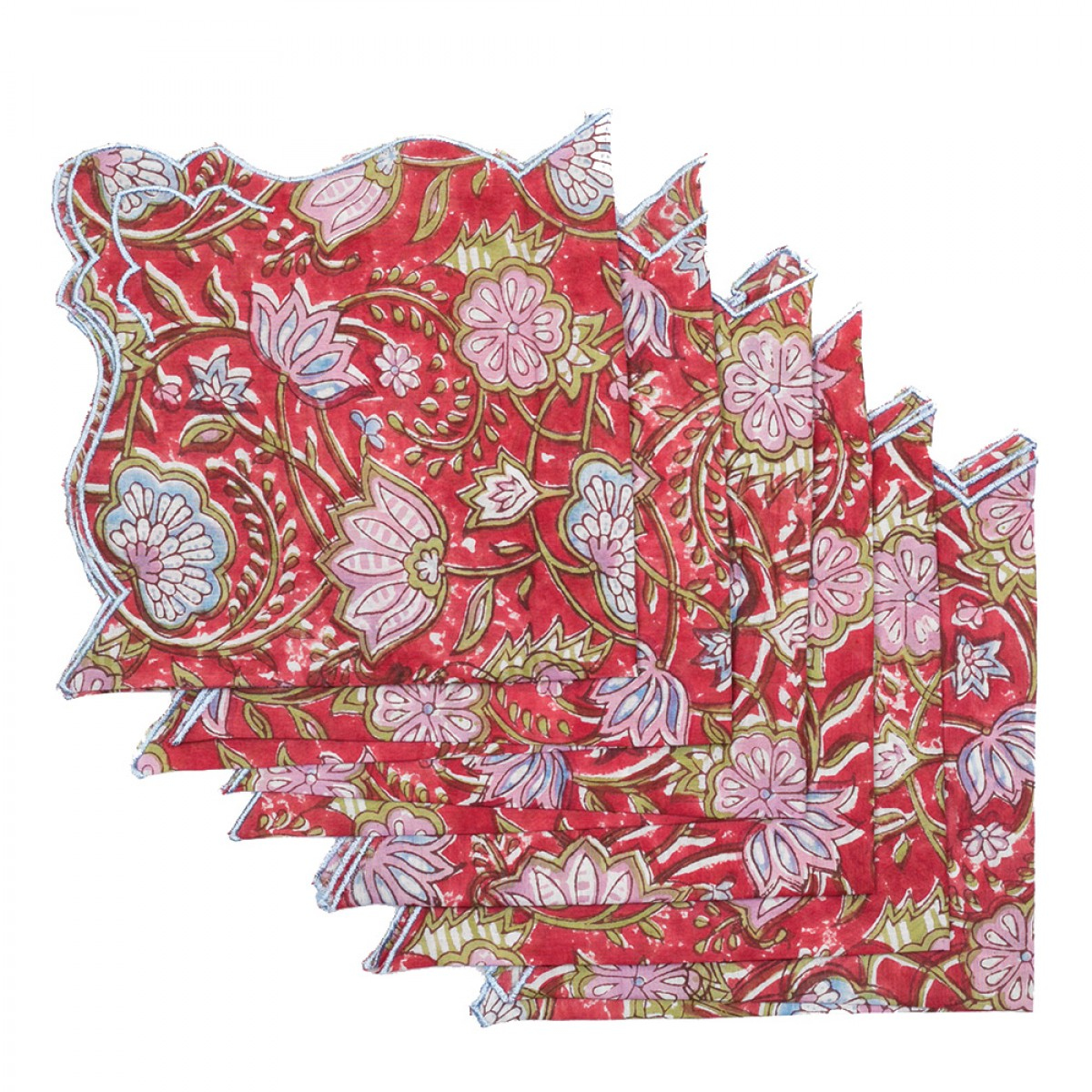 Cotton Scallop Embroidered Printed Napkin - Red (Set of 6)