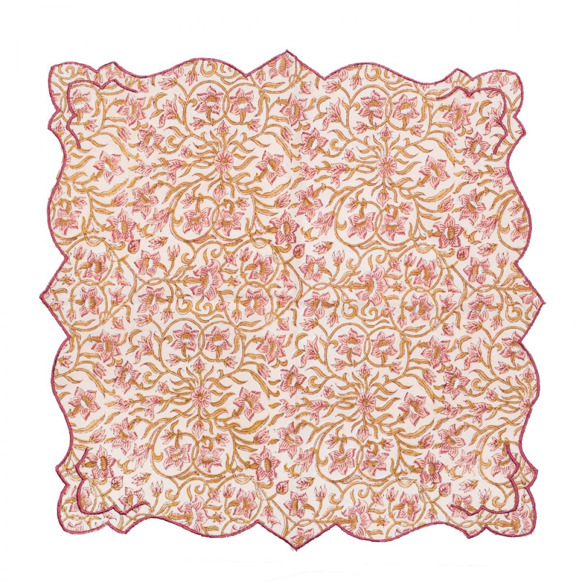 Cotton Scallop Embroidered Printed Napkin - Cream (Set of 6)