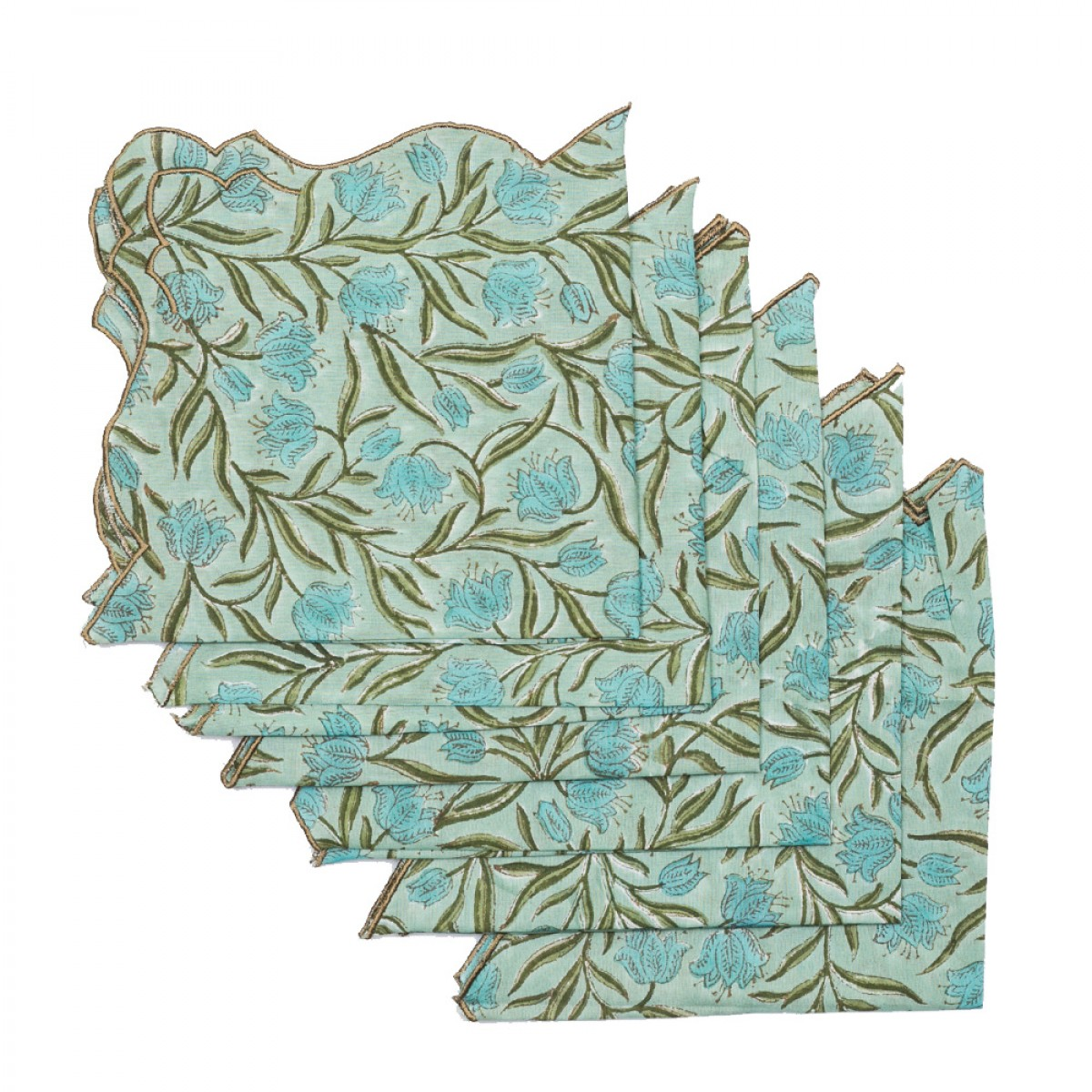Cotton Scallop Embroidered Printed Napkin - Pistachio Green (Set of 6)