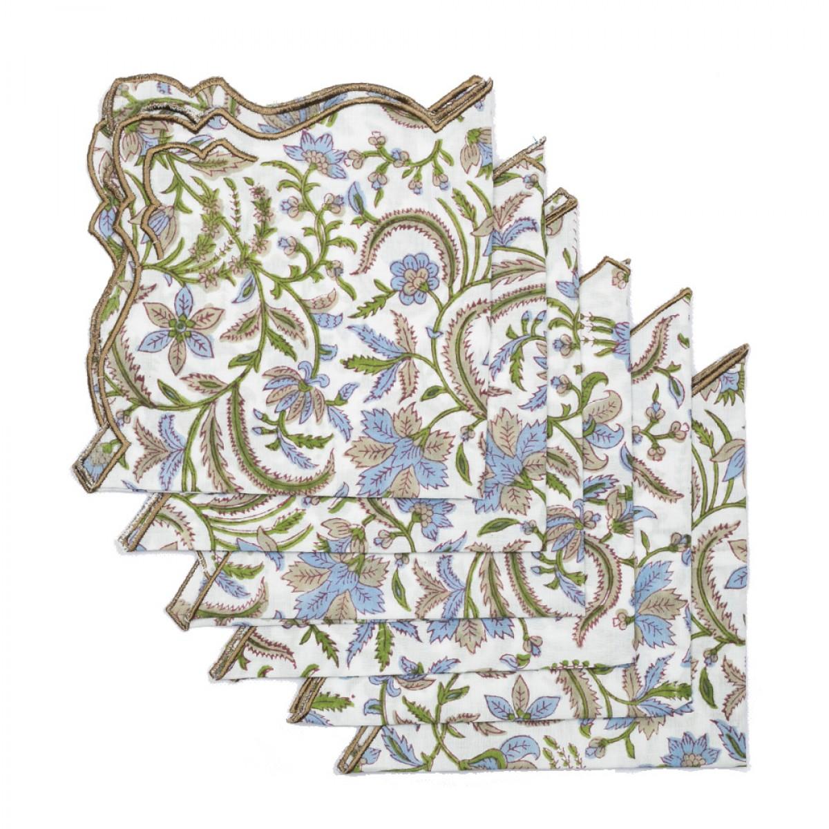 Cotton Scallop Embroidered Printed Napkin - White (Set of 6)