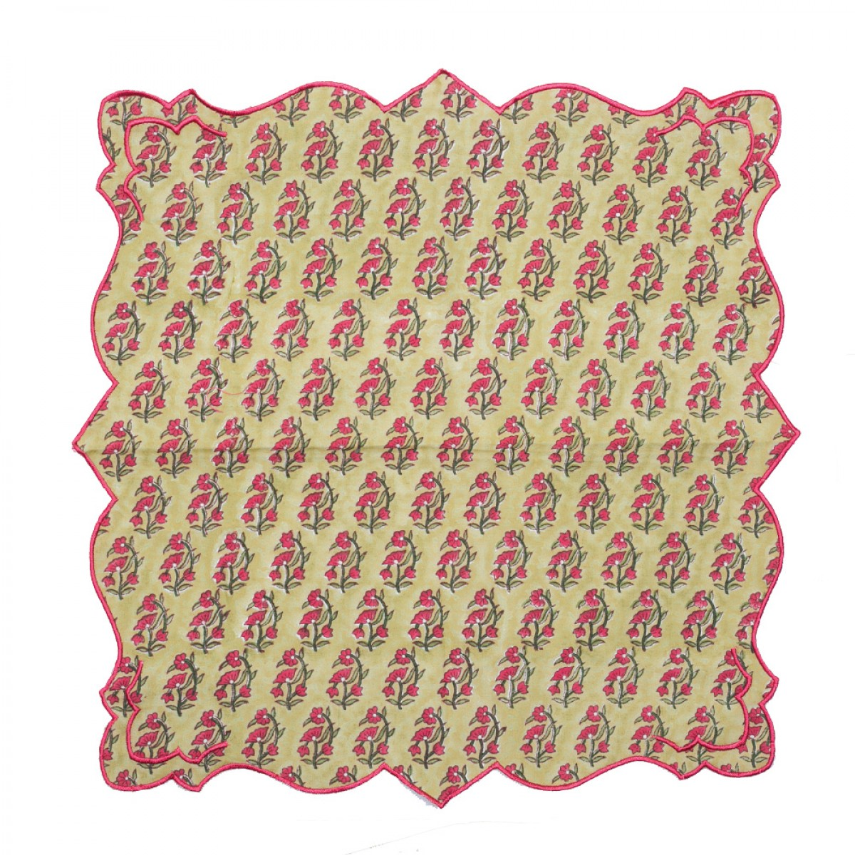 Cotton Scallop Embroidered Printed Napkin - Olive Green (Set of 6)