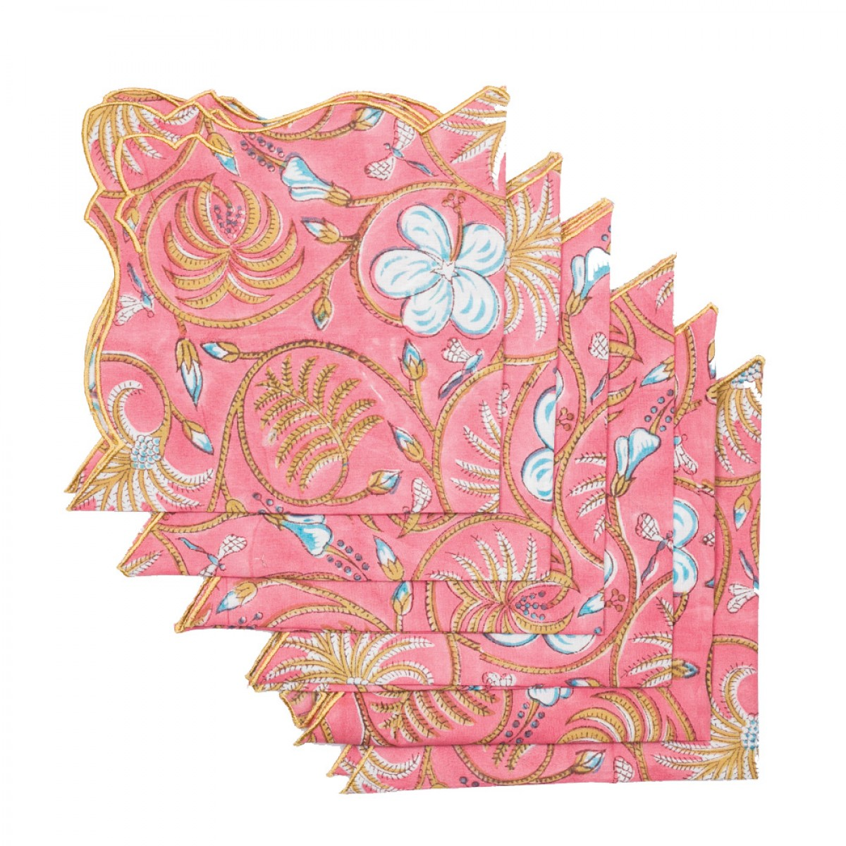 Cotton Scallop Embroidered Printed Napkin - Rose (Set of 6)