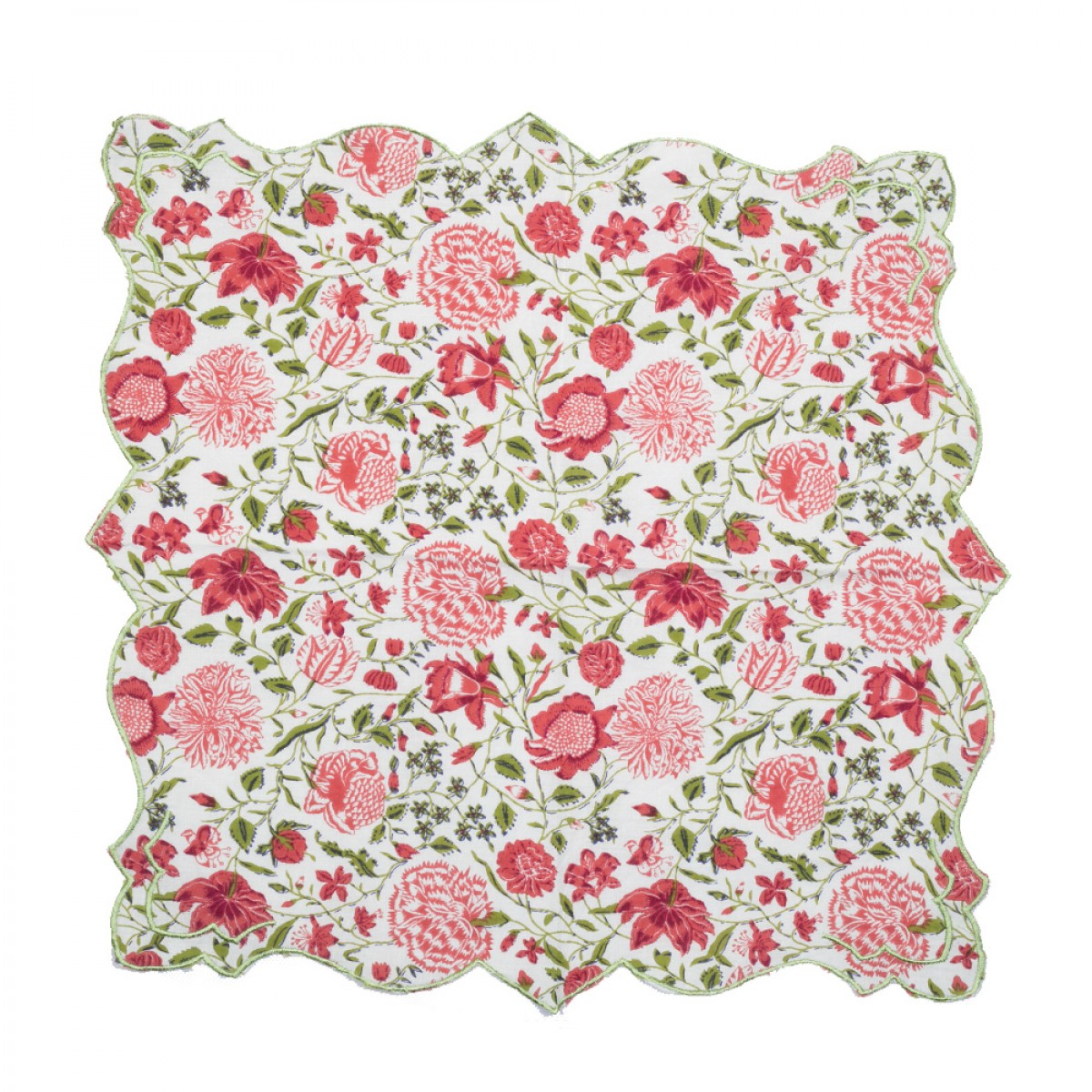 Cotton Scallop Embroidered Printed Napkin - Spring Garden (Set of 6)