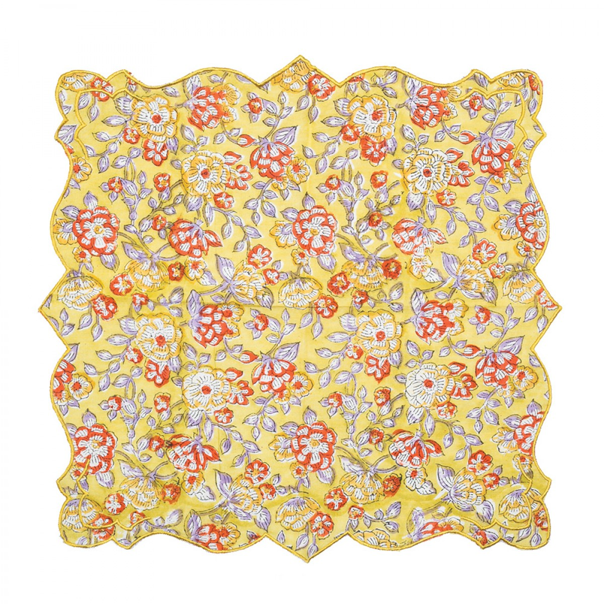 Cotton Scallop Embroidered Printed Napkin - Mustard (Set of 6)