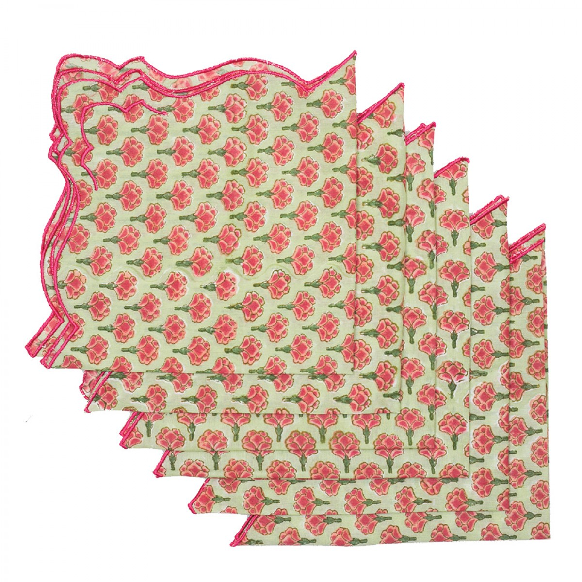 Cotton Scallop Embroidered Printed Napkin - Red & Olive (Set of 6)