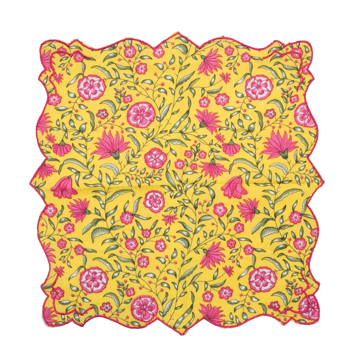 Cotton Scallop Embroidered Printed Napkin - Mughal Garden (Set of 6)