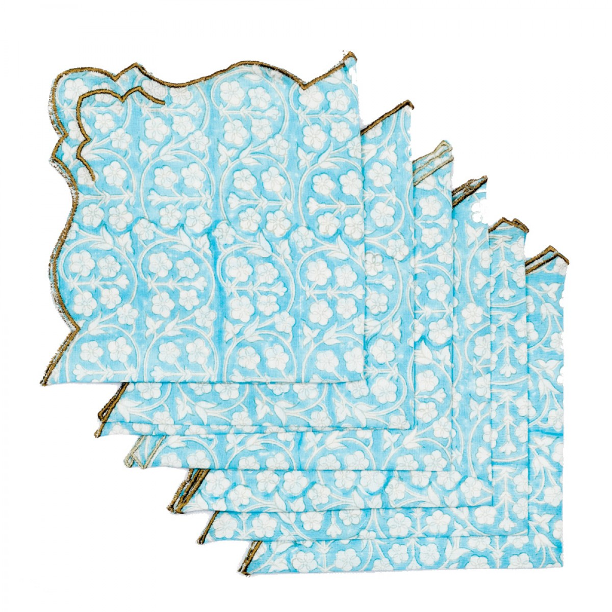 Cotton Scallop Embroidered Printed Napkin - Sky Blue (Set of 6)