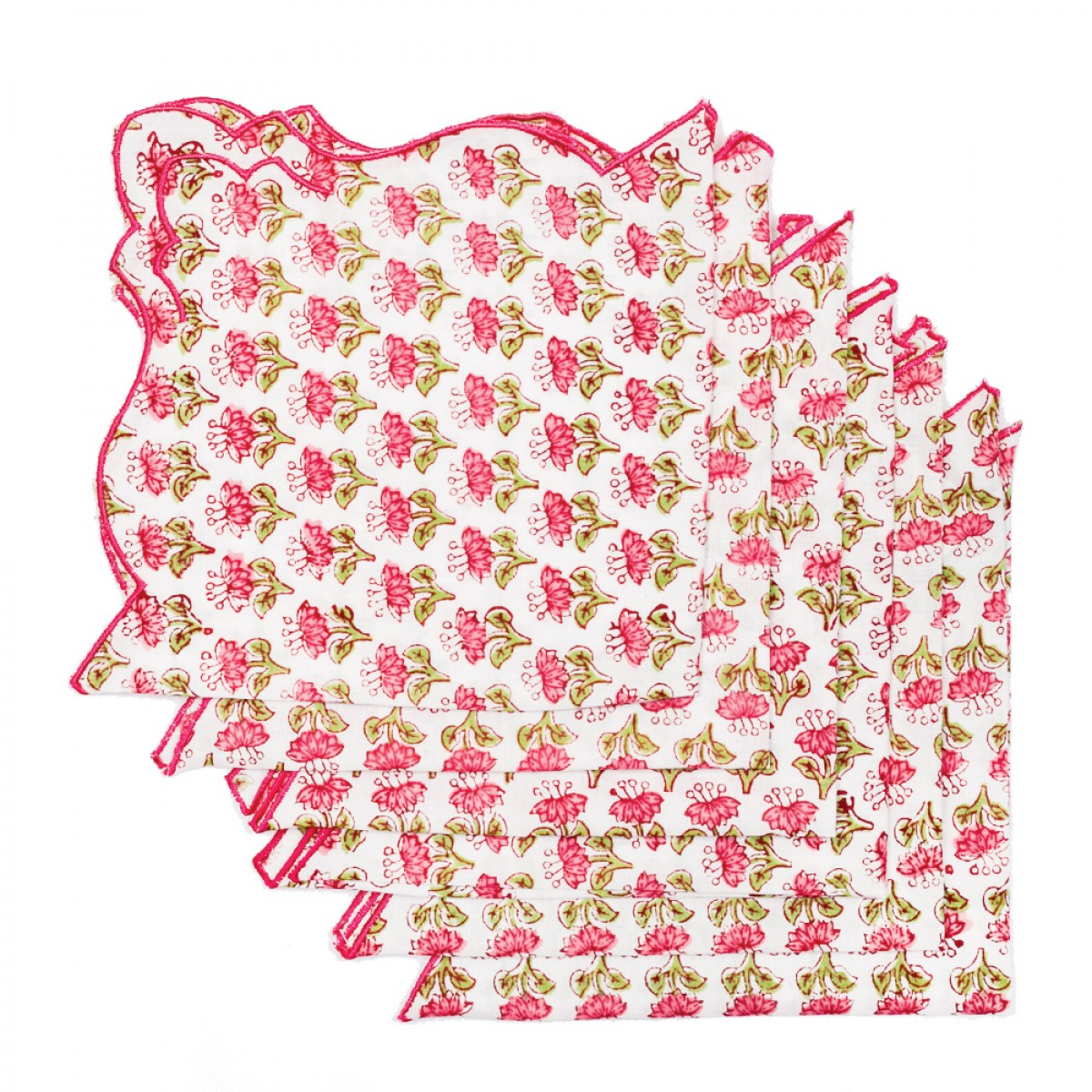 Cotton Scallop Embroidered Printed Napkin - Cherry (Set of 6)