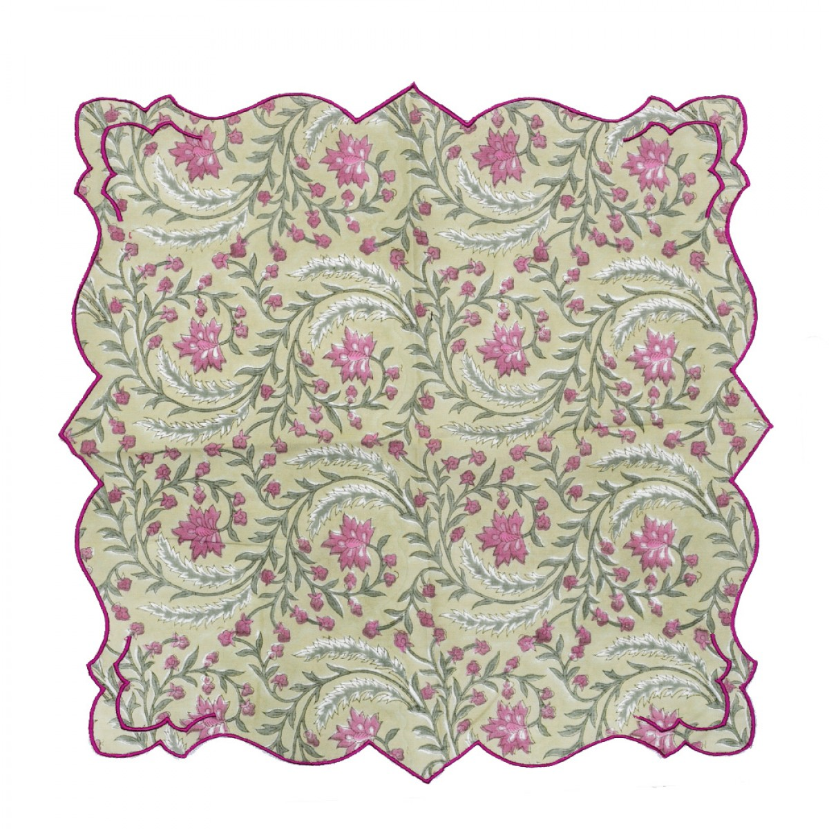 Cotton Scallop Embroidered Printed Napkin - Sage Green (Set of 6)