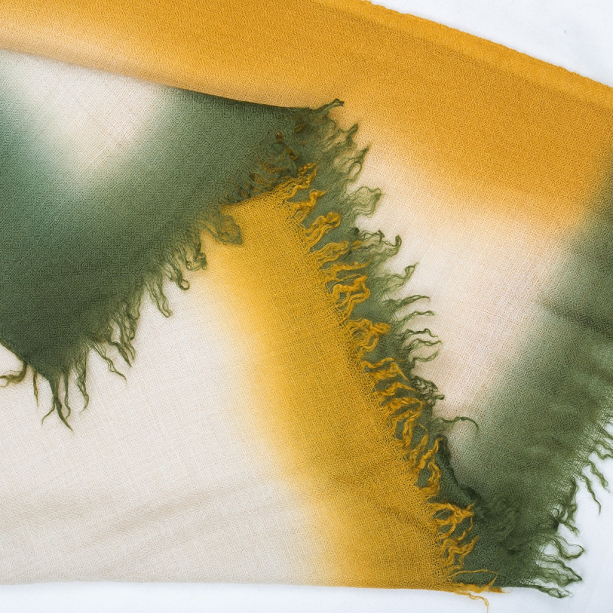 Ombre Pashmina Stole - Pine Green & Mustard Yellow